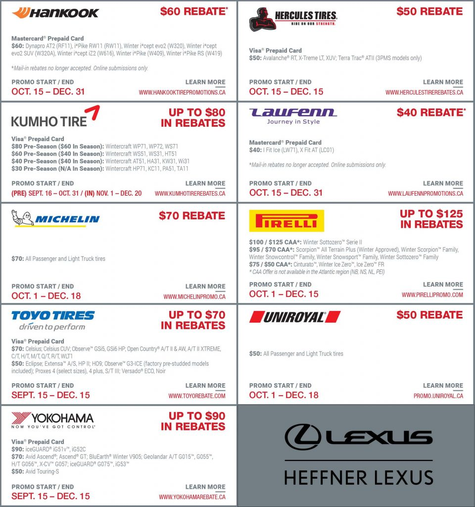 Winter Tire Rebates 2019 at Heffner Lexus.
