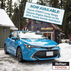 2019 Corolla Hatchback Toyota START + Remote Starter is now available for the 2019 Toyota Corolla Hatchback