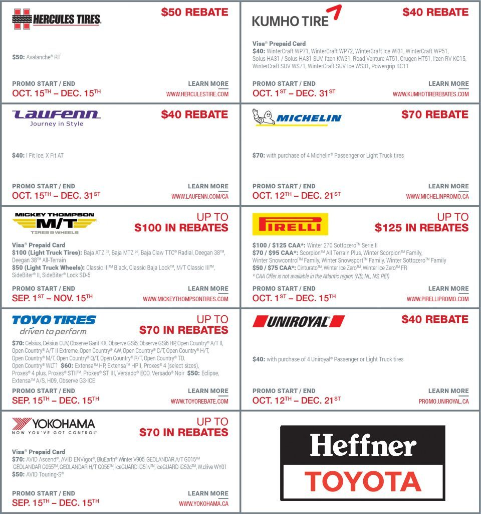 Winter Tire Rebates at Heffner Toyota