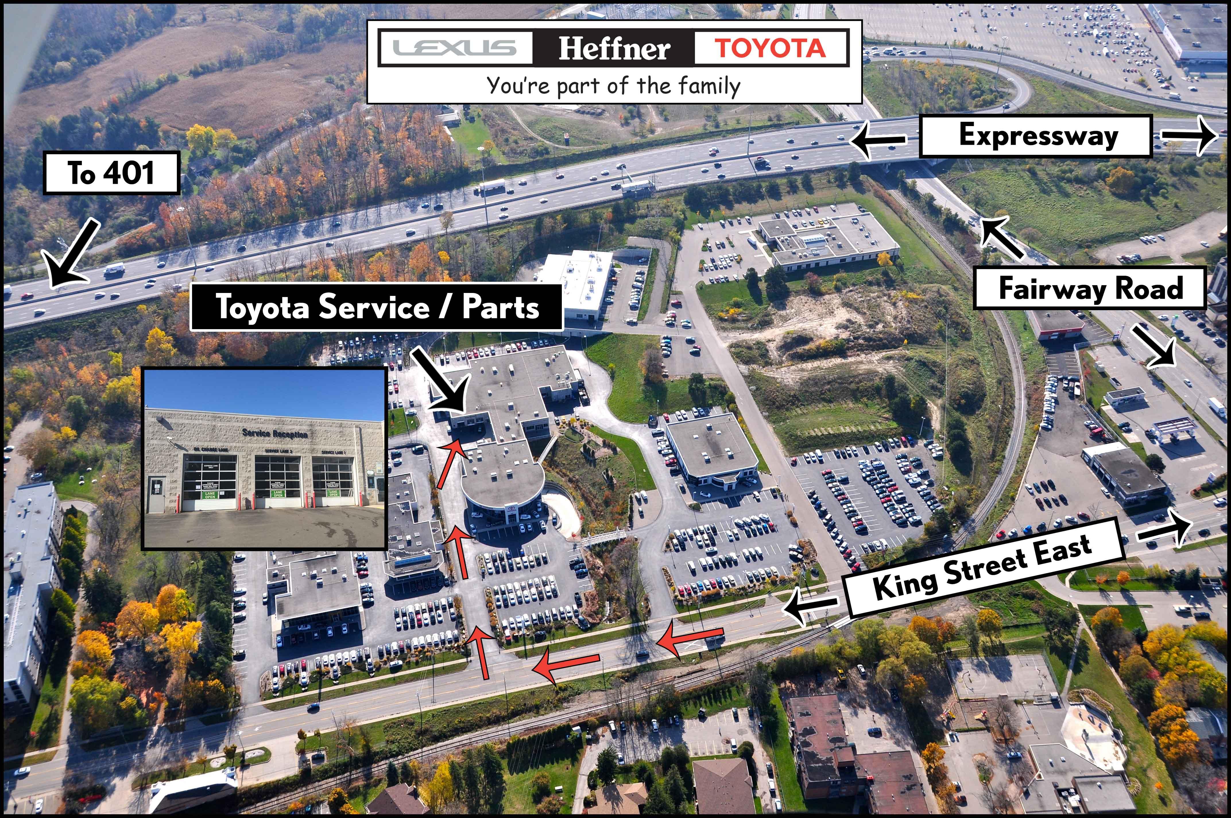 Heffner Toyota Service Map